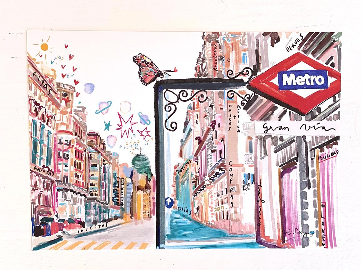 Lámina Decorativa Madrid Metro Gran Vía-002