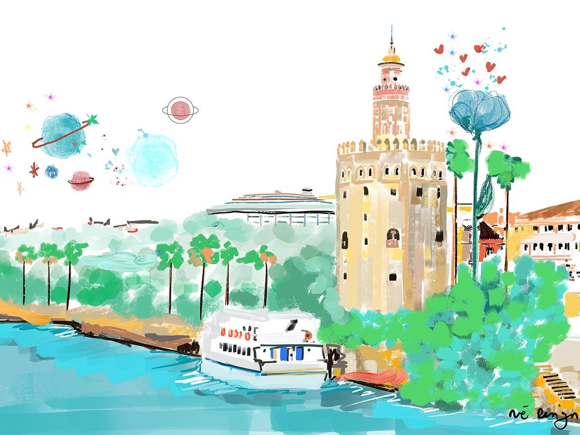 Lámina Decorativa Sevilla Torre del Oro-001