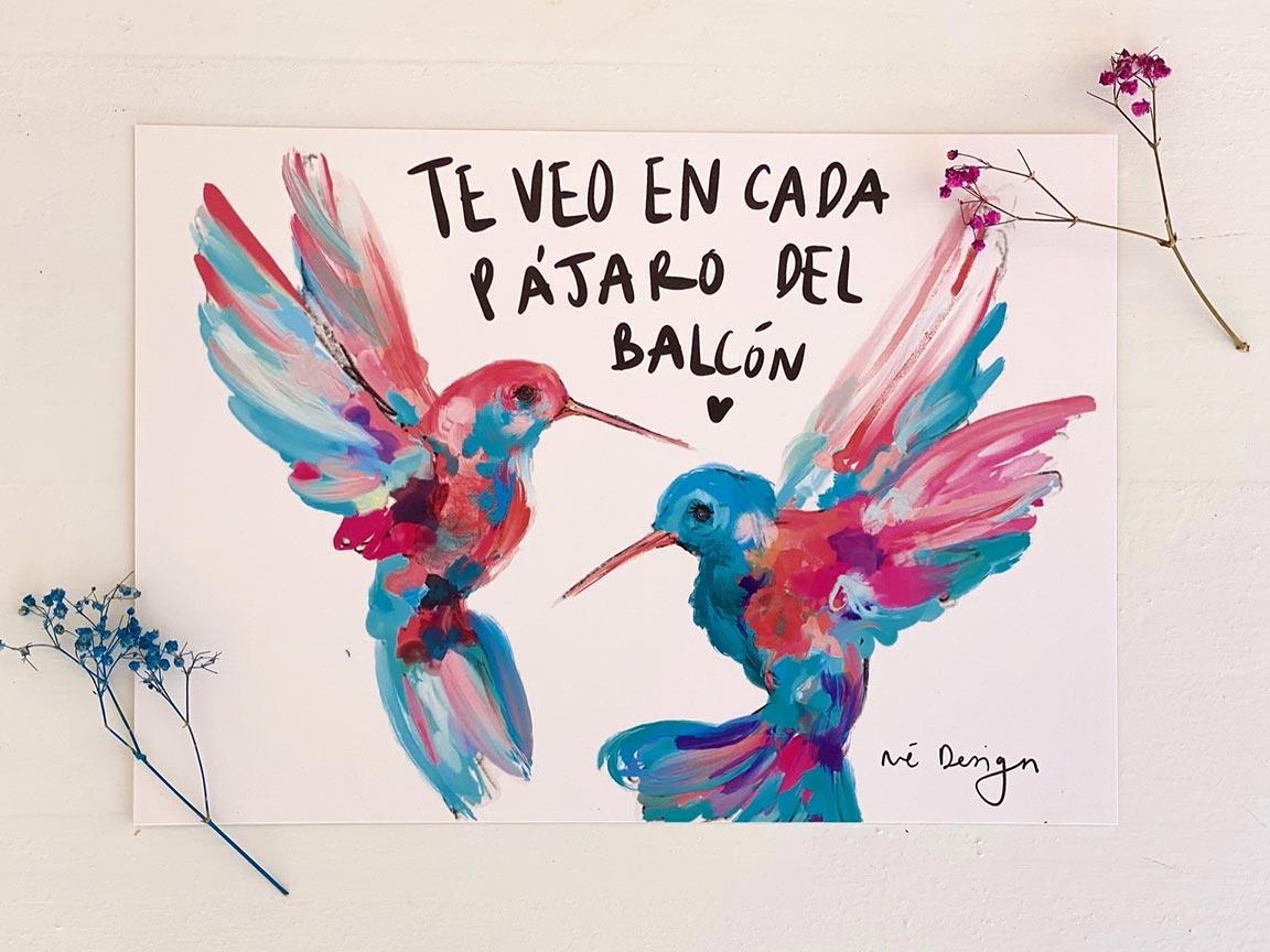 Lámina Decorativa Colibrís Pájaros del balcón-002