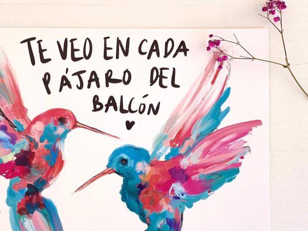 Lámina Decorativa Colibrís Pájaros del balcón-003