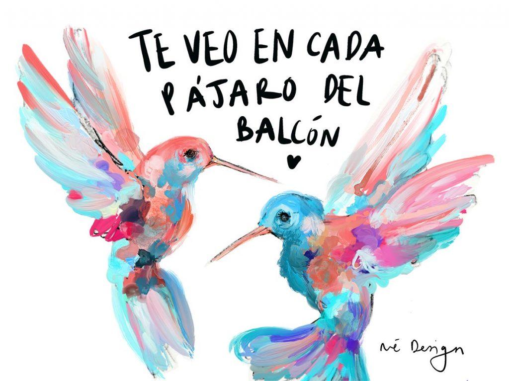 Lámina Decorativa Colibrís Pájaros del balcón-001