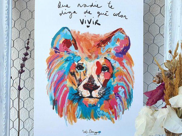 Lámina Decorativa Animales León a todo color-002