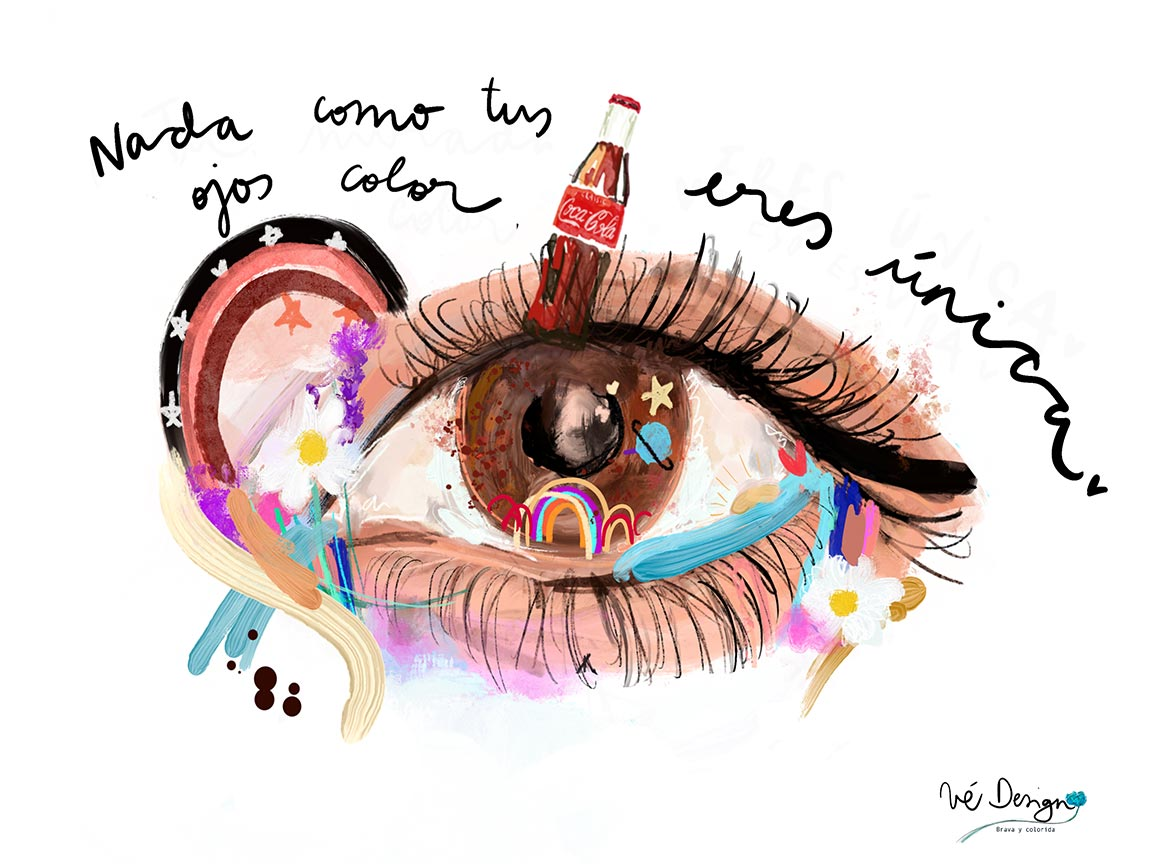 Lámina Decorativa Con frases Ojos color Coca-Cola-001