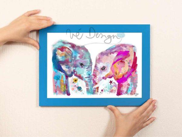 Lámina Decorativa Animales dos elefantes